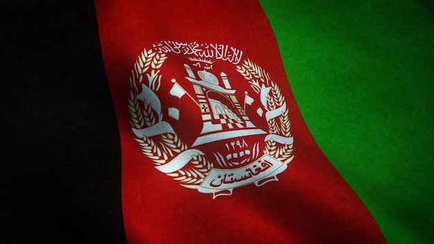 Colpo del primo piano della sventola bandiera dell'afghanistan con trame interessanti Foto Gratuite