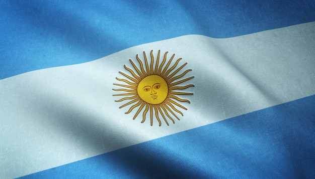 Closeup shot of the waving flag of argentina with interesting textures Free Photo