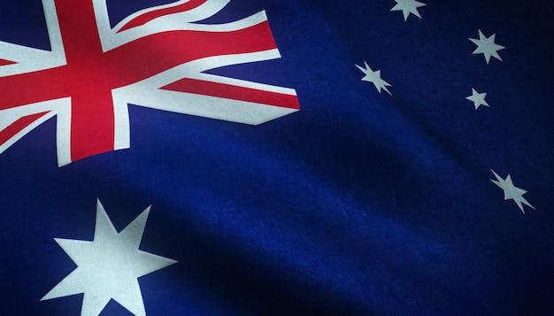Colpo del primo piano della sventola bandiera dell'australia con trame interessanti Foto Gratuite