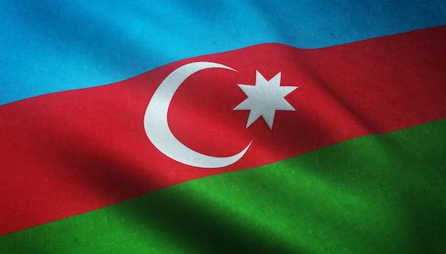 Colpo del primo piano della sventola bandiera dell'azerbaigian con trame interessanti Foto Gratuite
