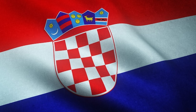 Closeup shot of the waving flag of croatia with interesting textures Free Photo