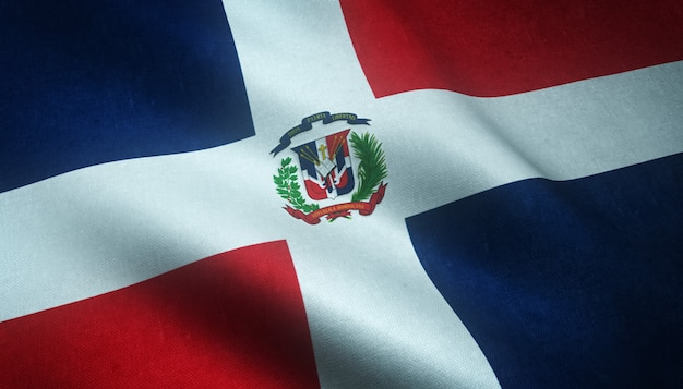Closeup shot of the waving flag of dominican republic with interesting textures Free Photo