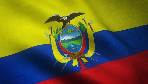Colpo del primo piano della sventola bandiera dell'ecuador con trame interessanti Foto Gratuite