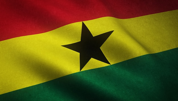 Closeup shot of the waving flag of ghana with interesting textures Free Photo