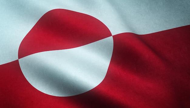 Colpo del primo piano della sventola bandiera della groenlandia Foto Gratuite