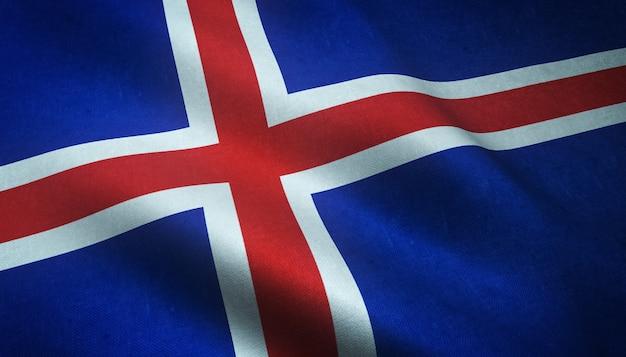 Colpo del primo piano della sventola bandiera dell'islanda con trame interessanti Foto Gratuite