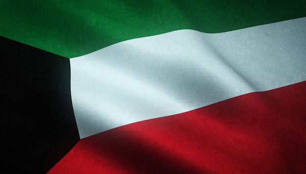 Closeup shot of the waving flag of kuwait with interesting textures Free Photo