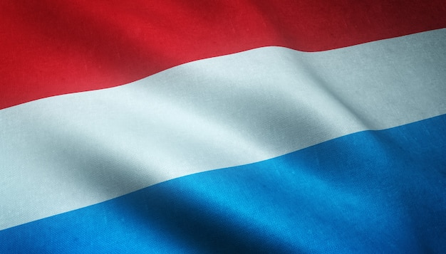 Colpo del primo piano della sventola bandiera del lussemburgo con trame interessanti Foto Gratuite