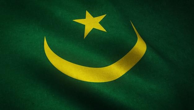 Colpo del primo piano della bandiera sventolante della mauritania con trame interessanti Foto Gratuite