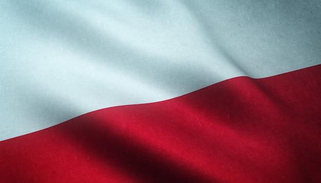 Colpo del primo piano della sventola bandiera della polonia con trame interessanti Foto Gratuite