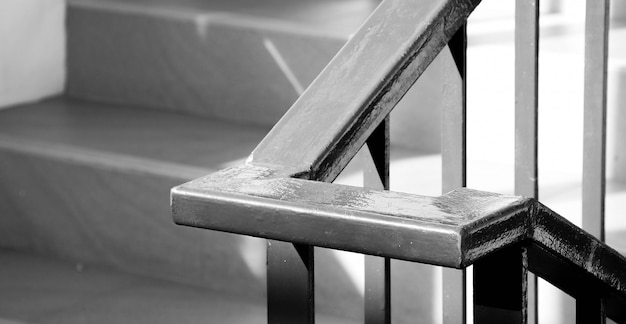 Closeup steel staircase in residential house Premium Photo