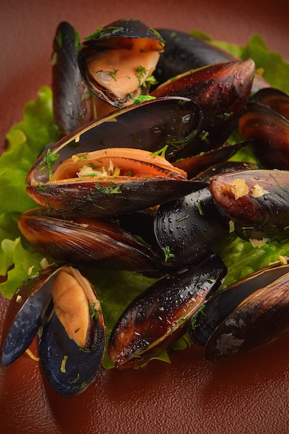 Closeup up roasted clam Free Photo