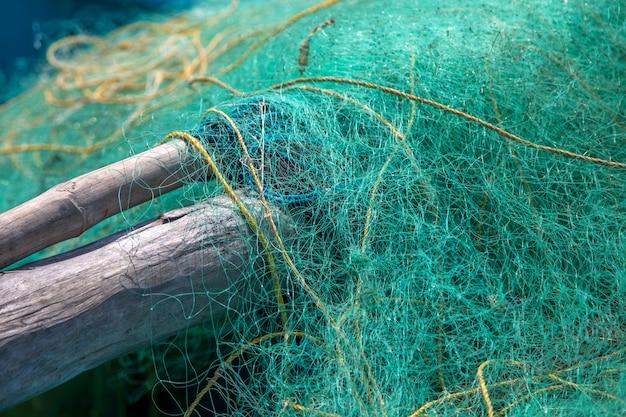Closeup view at the fishing net Premium Photo