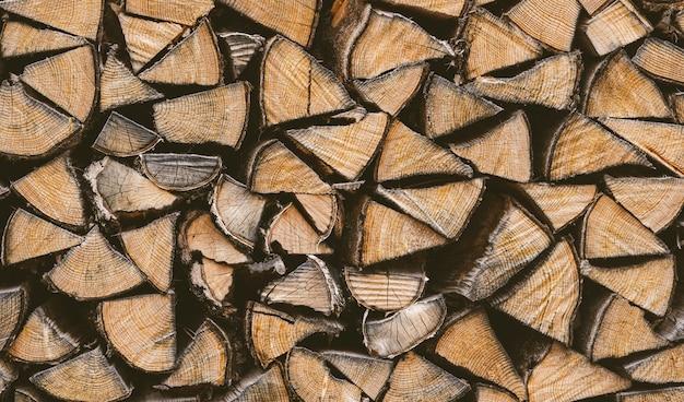 Крупным планом вид стопки дров Бесплатные Фотографии