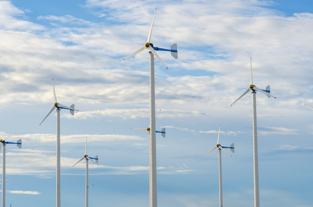 Closeup of a windmill for renewable electric energy production Premium Photo
