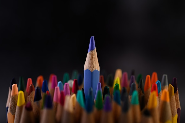 Closeup with a group of colored pencils, selected focus, blue Free Photo