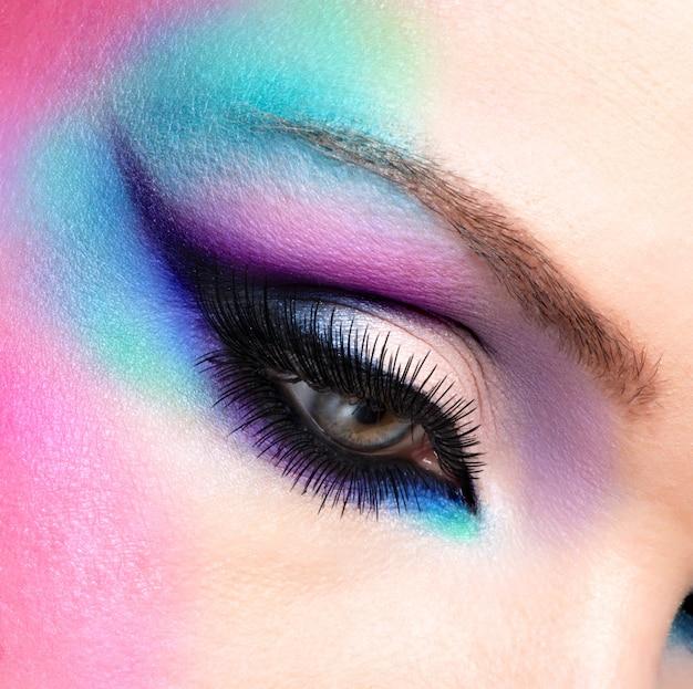 Closeup woman eyes with beautiful  fashion bright blue makeup Free Photo