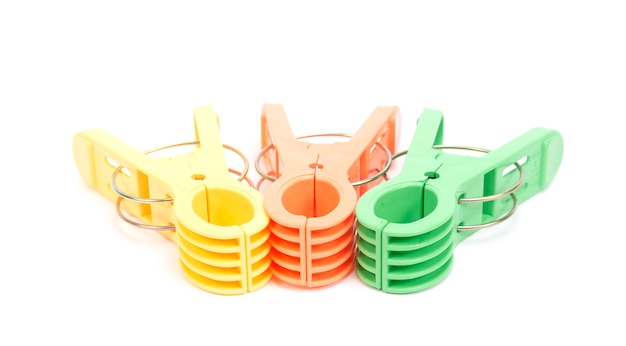Clothespin clips on isolated Premium Photo