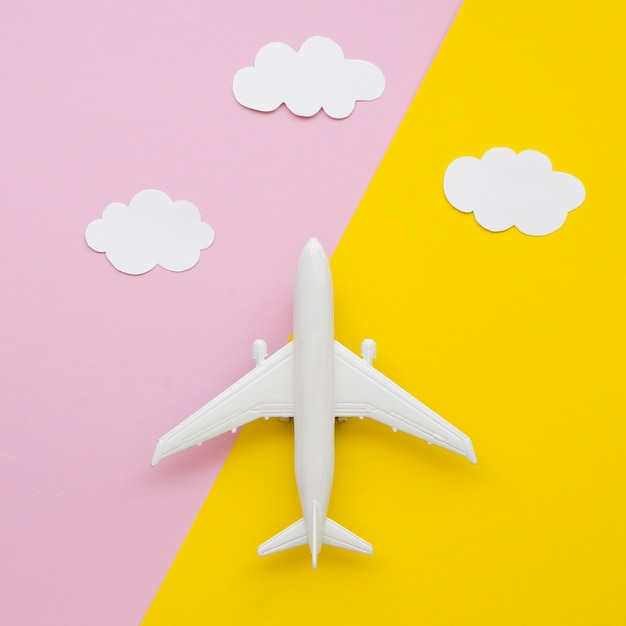 Cloud collection with airplane Free Photo