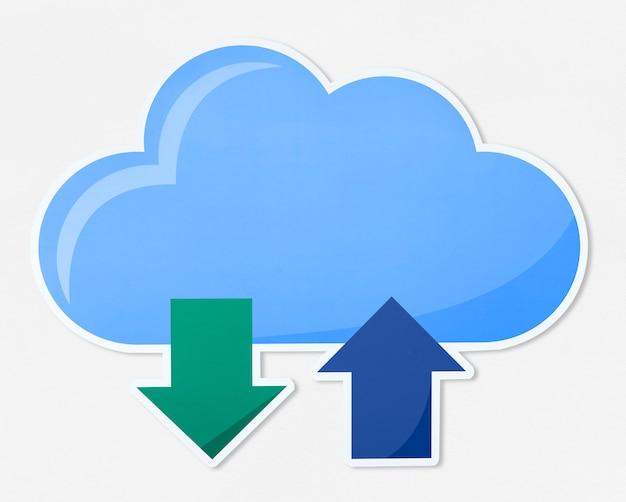 Cloud computing illustration icon Free Photo