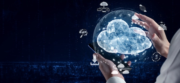 Cloud computing technology and online data storage for business network concept. Premium Photo