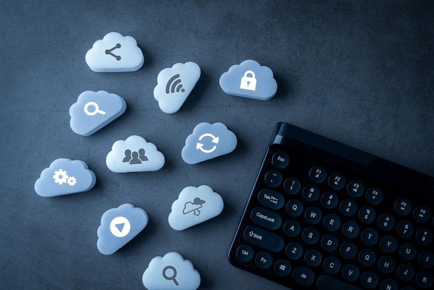 Cloud technology connection and keyboard Premium Photo