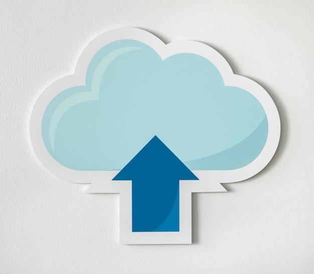 Cloud uploading icon technology graphic Free Photo