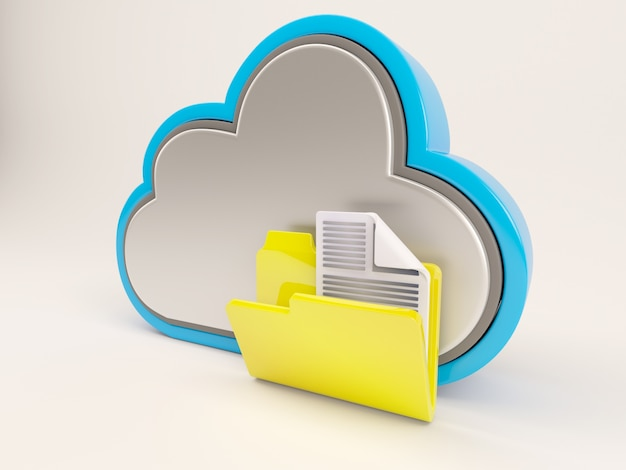 Cloud with yellow folder Free Photo