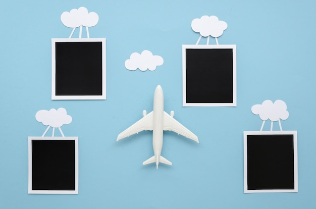 Clouds with photos and airplane Free Photo