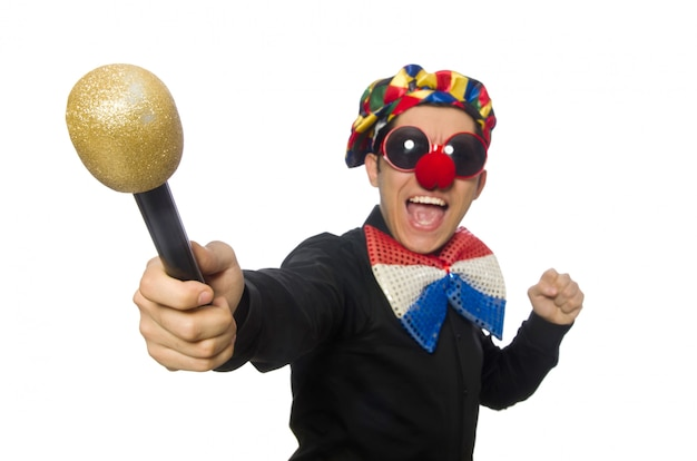 The clown with microphone isolated on white Premium Photo