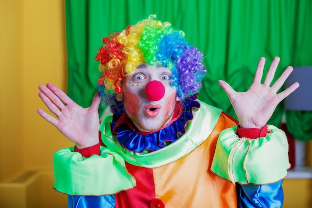 Clown with queer expression on his face. Premium Photo
