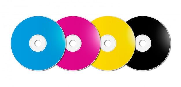 Cmyk cd - dvd set on white background Premium Photo