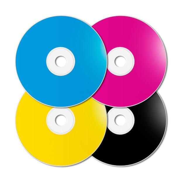 Cmyk cd - dvd set on white surface Premium Photo