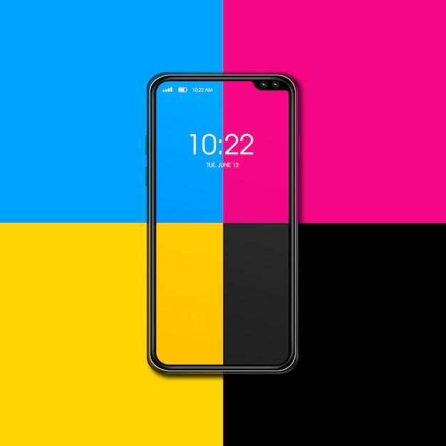 Смартфон cmyk изолированный на предпосылке цвета. 3d визуализация Premium Фотографии
