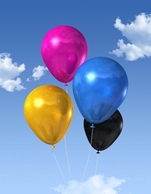 青い空に浮かぶcmyk原色の気球 Premium写真