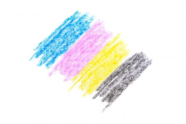 シムブルーレッドマゼンタ黄色と白の紙の上の黒の図面とcmykコンセプトクレヨンテクスチャ Premium写真