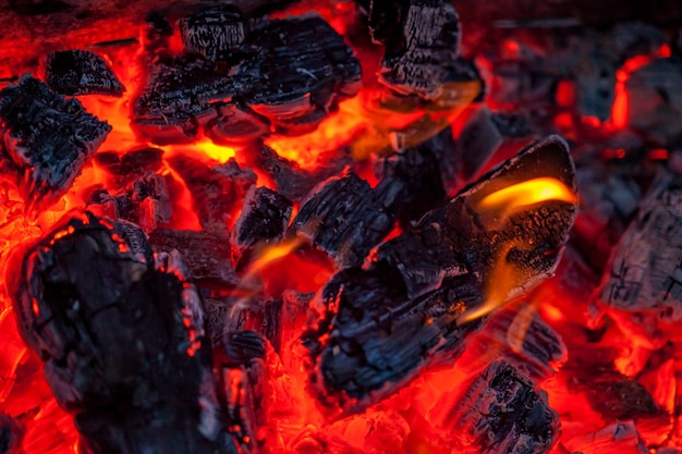 The coals of a campfire background Premium Photo