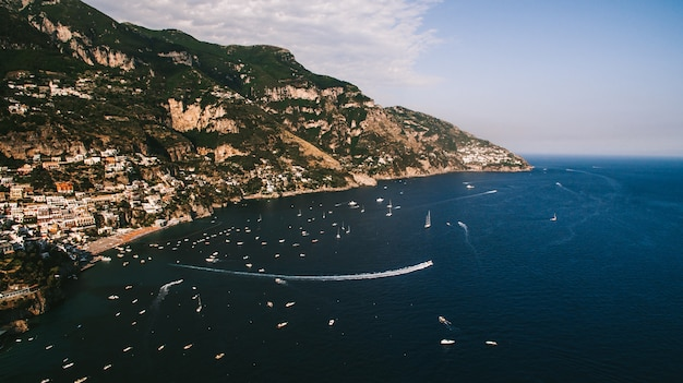 The coastline of italy is from the air Premium Photo