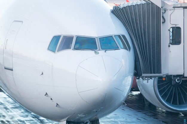 Cockpit of a passenger aircraft plane close up Premium Photo