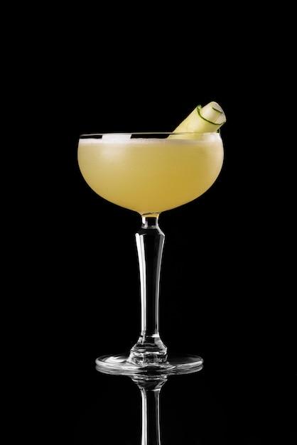 Cocktail black background menu layout restaurant bar vodka whiskey orange yellow cucumber Premium Photo
