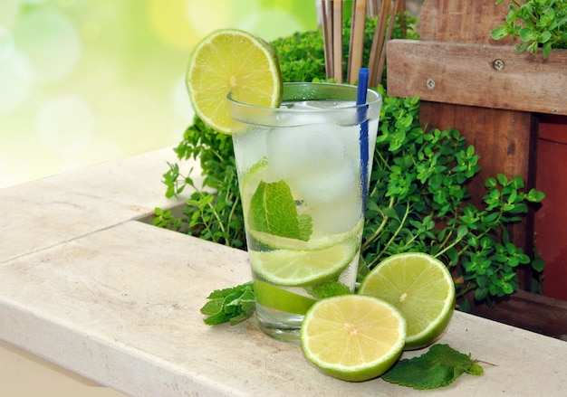 Cocktail mojito made with run, mint and lime in summer terrace Premium Photo
