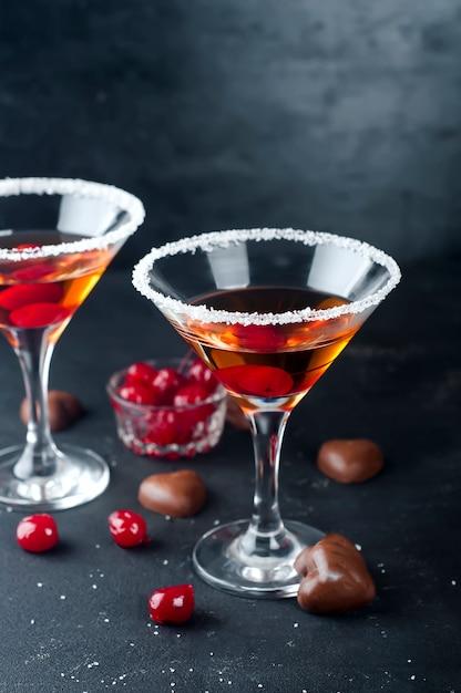 Cocktails with cherry Premium Photo