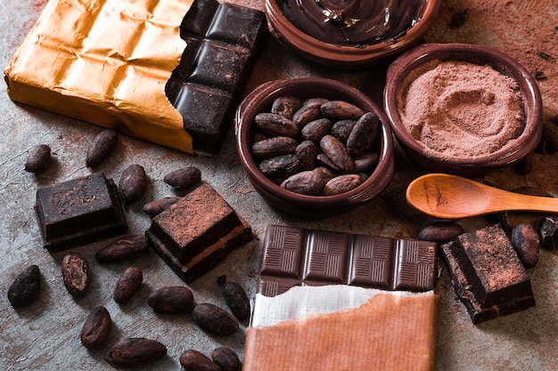 Cocoa beans and powder with chocolate bar pieces on table Free Photo