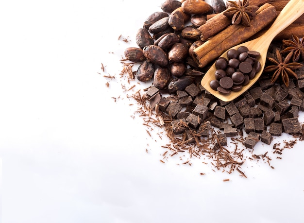 Cocoa and chocolate on a white background. Premium Photo