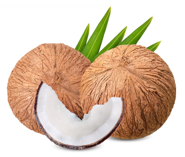 Coconut isolated on white with clipping path Premium Photo