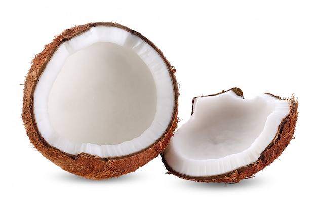 Coconut milk isolated on white clipping path Premium Photo