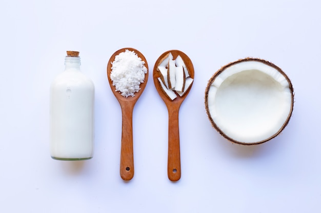 Coconut with coconut milk  on white Premium Photo