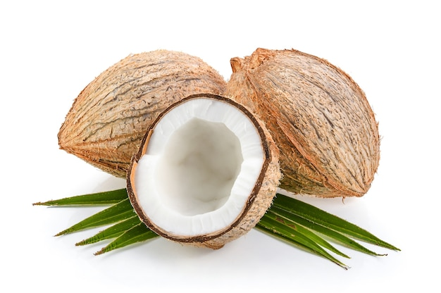 Coconuts with leaf isolated on the white background Premium Photo