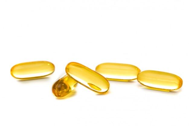Cod liver oil omega 3 capsules isolated Premium Photo