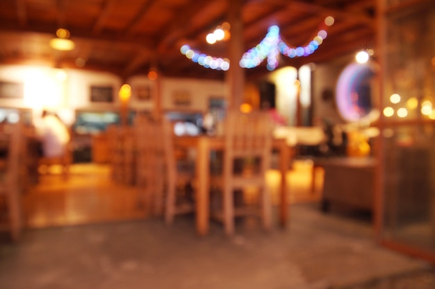 Cofee shop light blurred background at night Premium Photo